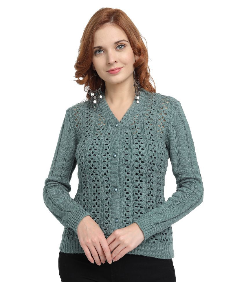 Wool Trees Acro Wool Green Buttoned Cardigans