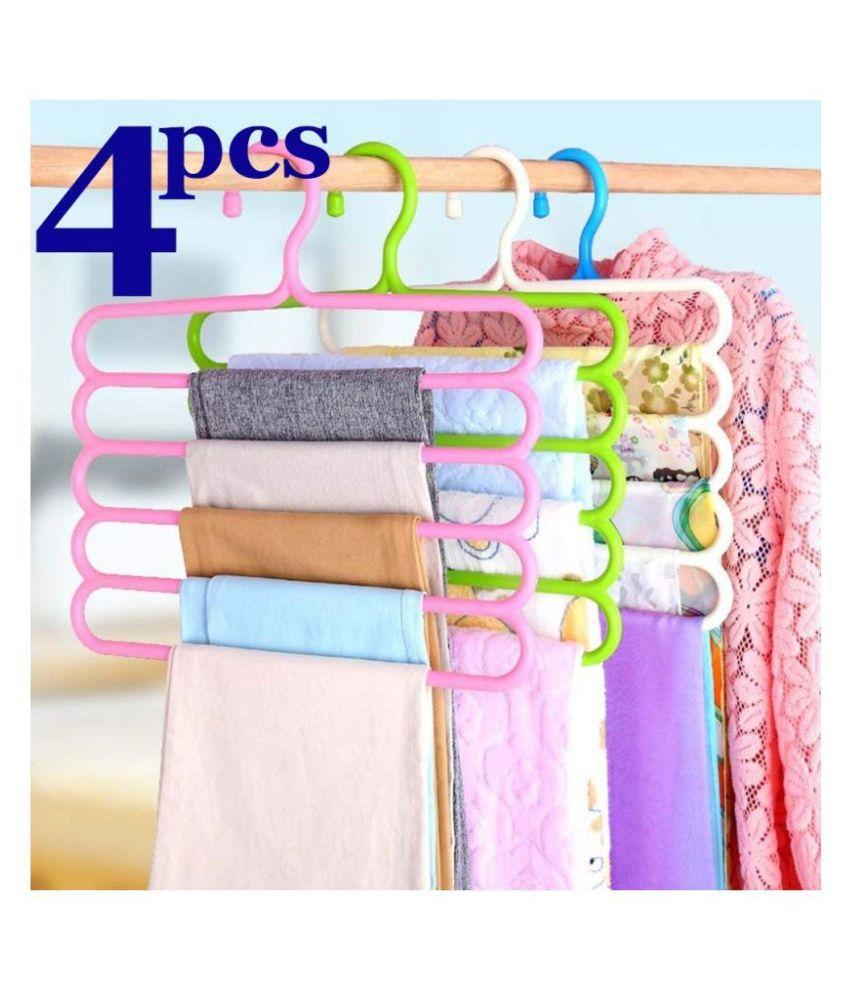 KTU 5 Layer Pants Clothes Hanger Wardrobe Storage Organiser Rack, 32l x 1b x 33h cm (Assorted Colour) - (Set of 4)