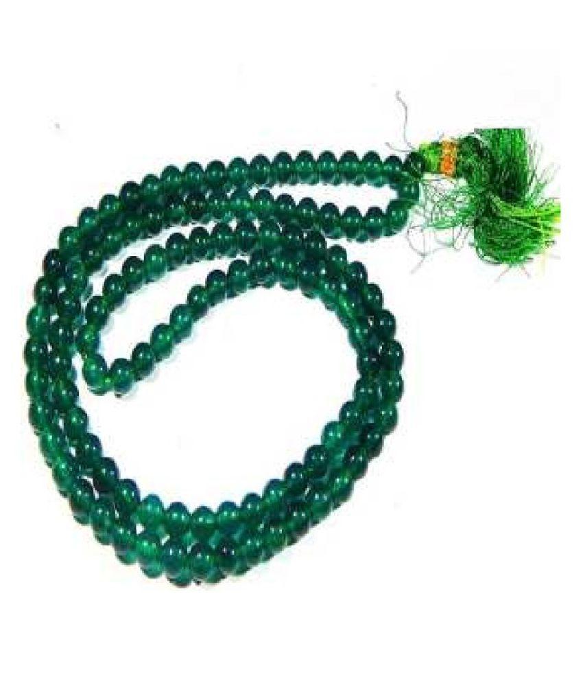 Kundli Gems - Precious Gemstone Emerald Beaded String Necklace Mala for Women/Girls