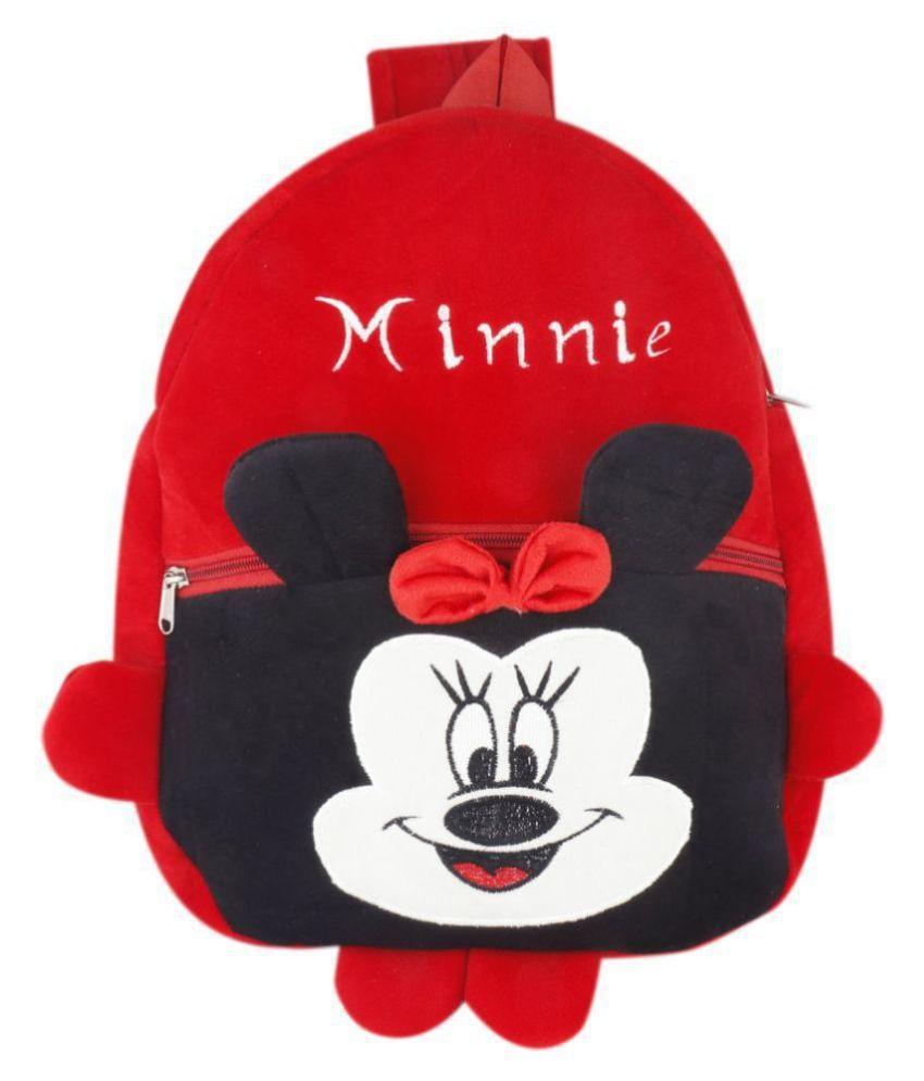 Minnie Kids School Bag Soft Plush Backpacks Cartoon Baby Boy Girl (2-5 Years) Red