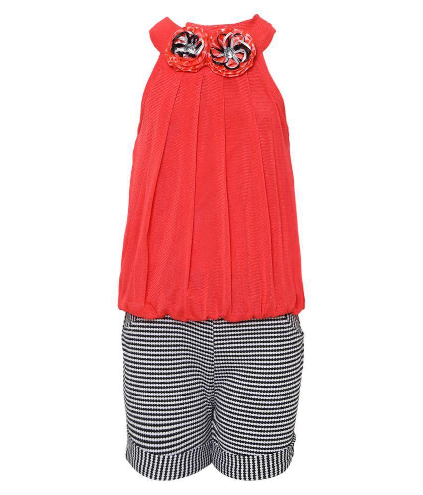 Aarika Girl's Nylon Red Coloured Short Top Casual Wear