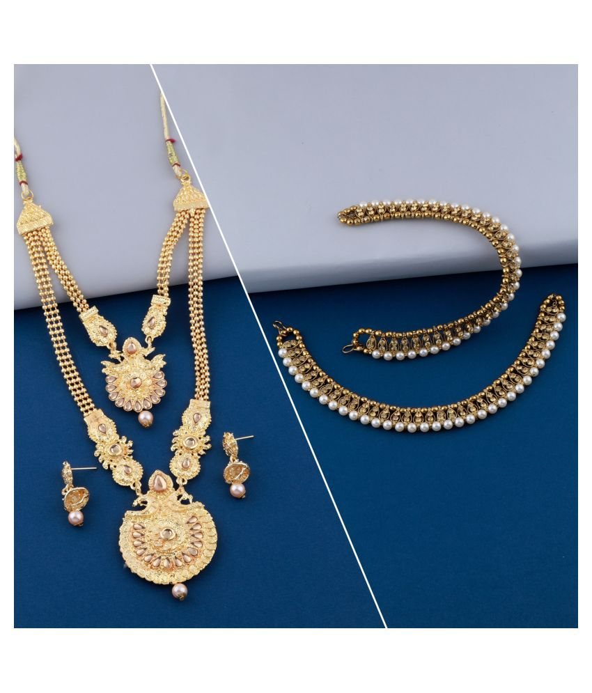 Designer Traditional Long  Necklace  Set With Anklet Jwellery  For Women Girls