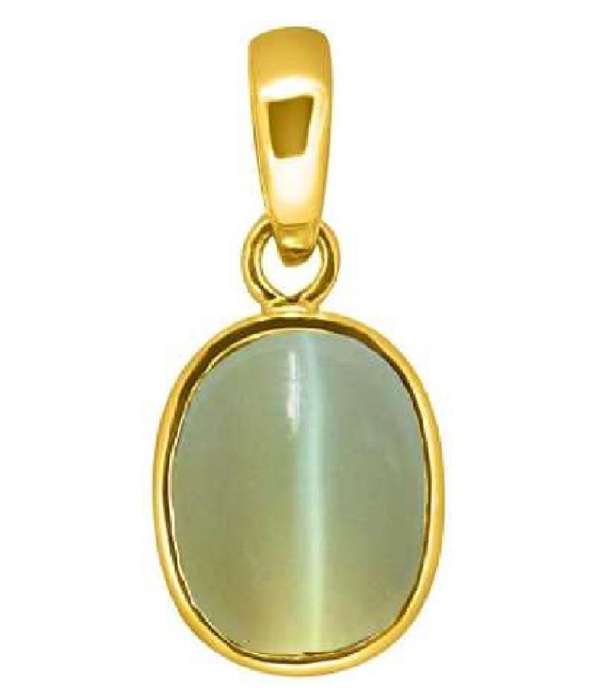 Kundli Gems - 5 Ratti Cats Eye Pendent panchdhatu with Gold Plated For Men & Women… Gold-plated Cat's Eye Metal Pendant