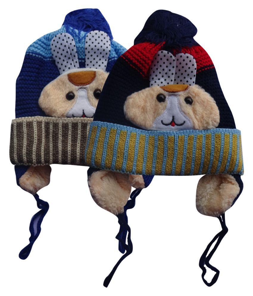 Raj Riwaj Multicolour Woollen Cap For Kids - Pack Of 2