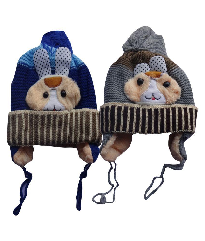 Raj Trader Blue Woolen Cap For Kids pack of-2