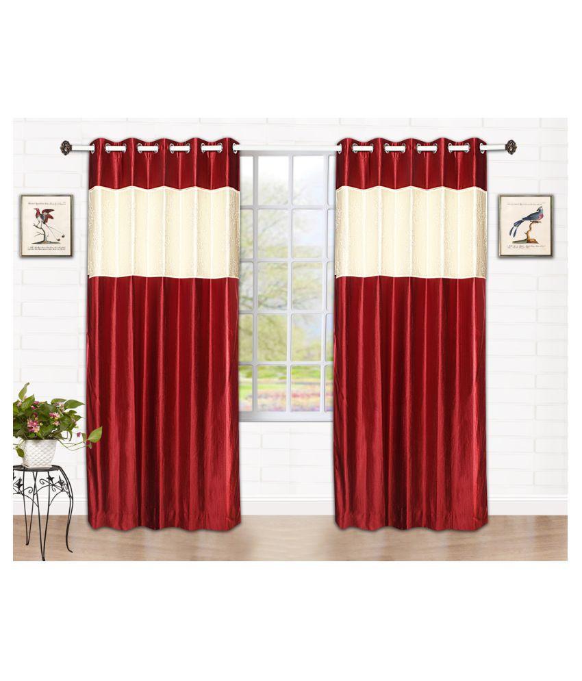 Tanyugg Single Window Blackout Room Darkening Eyelet Polyester Curtains Maroon