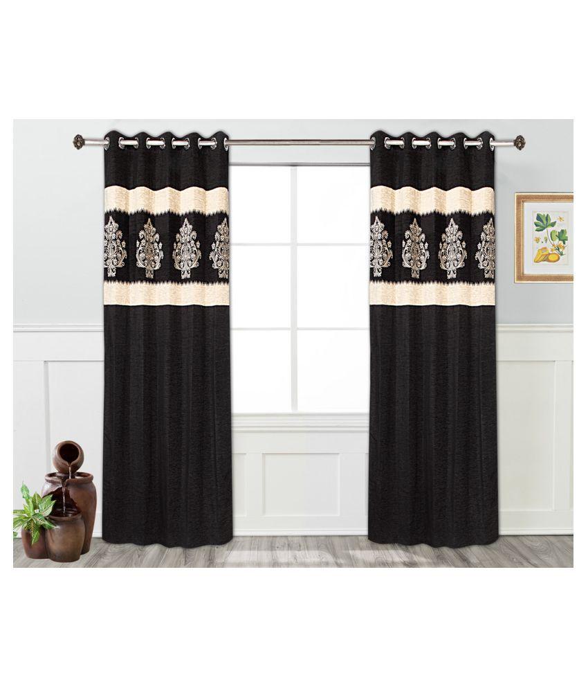 Tanyugg Single Window Semi-Transparent Eyelet Velvet Curtains Black