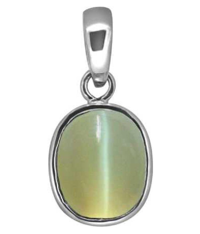 5.5 ratti Cats eye Stone Pendant Natural Cats Eye stone Certified & Astrological purpose for men & women Sterling Silver Cat's Eye Stone Pendant by Kundli Gems