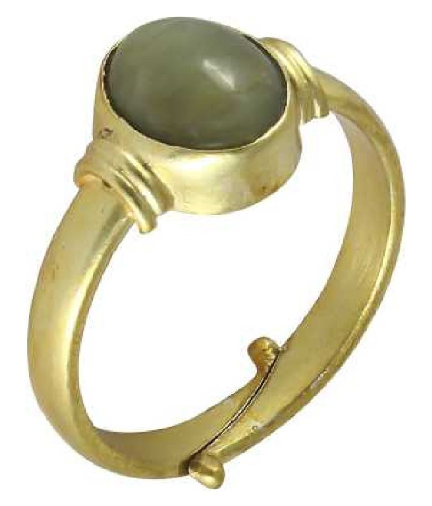 7.5 ratti Natural Cat's Eye Stone Unheated Lab Certified Gold Plated Ring by Ratan Bazaar