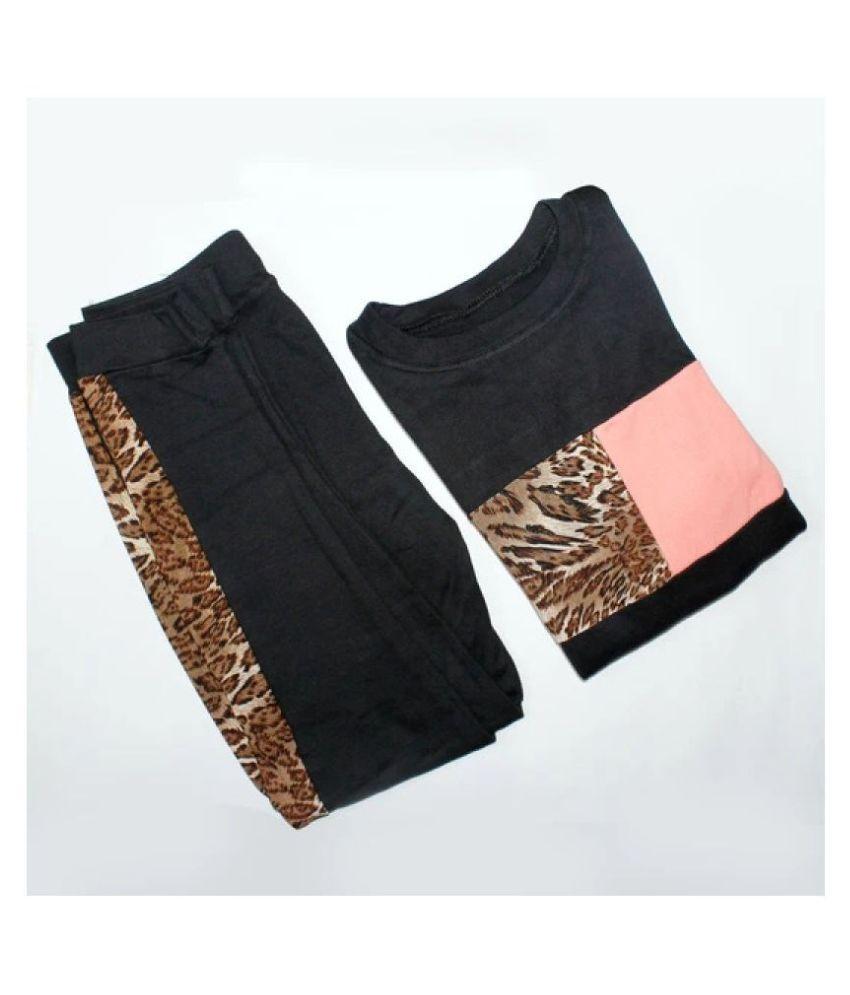 Avenew Fashions Black,Peach Poly Spandex Animal Print Tracksuit