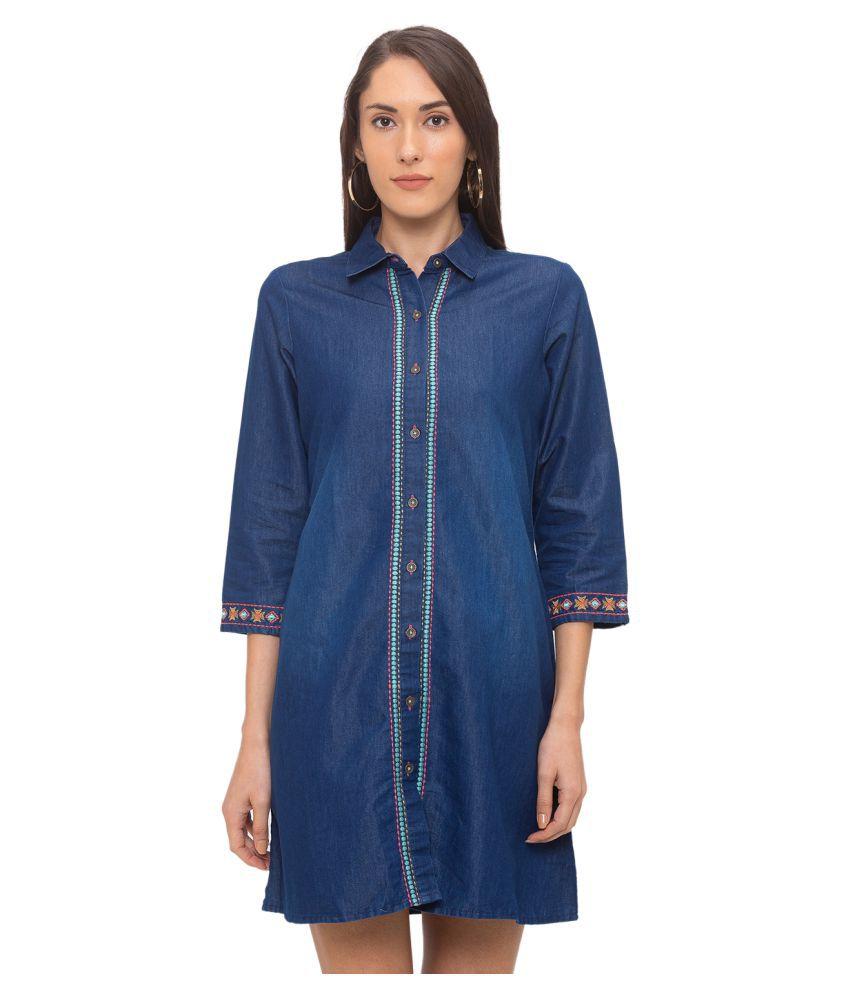 Globus Cotton Blue Sheath Dress