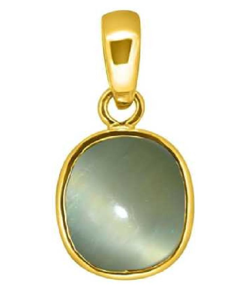 Kundli Gems - 6 ratti Cat's Eye Natural Gold Plated Plated Pendant Locket for Unisex Gold Plated Cat's Eye Pendant