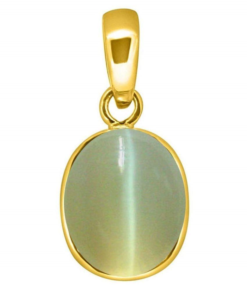 Kundli Gems - Natural Cat's Eye 5.5 carat Stone Gold Plated Pendant Rashi Ratna Origional Lehsuniya Precious Gemstone Chandi Locket Unheated Gold Plated Cat's Eye Stone Locket for Men and Women