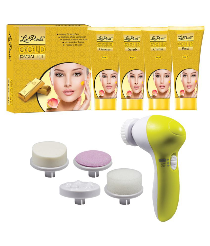 Laperla Gold Facial Kit With 5in1 Face Massager Facial Kit 80 g Pack of 2