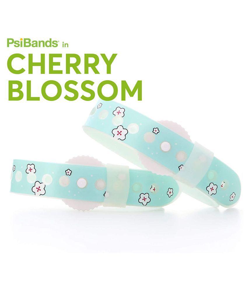 PSI Acupressure Anti Nausea Wristbands - Travel/Sea/Motion/Morning Sickness - Cherry Blossom
