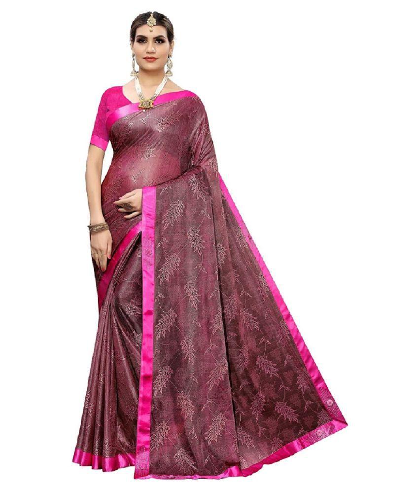 RAMAPIR FASHION Pink Lycra Saree