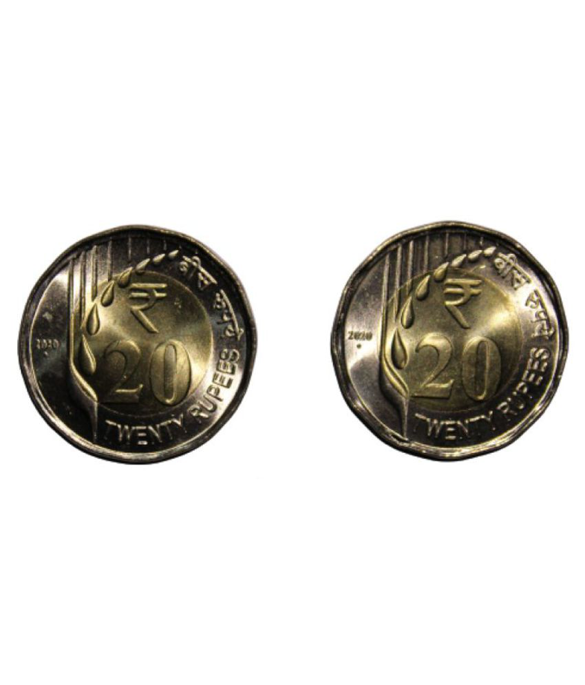 Republic India Newly Issued Series 2020 - 20 Rupees Unc Coin-Pack of 2 Coins