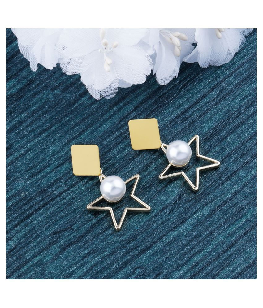 Unique Gold With Pearl Hanging Star Dangles Drop Earring For Girls And Women