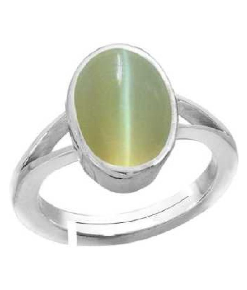 5.25 Carat  Cat's Eye Ring with lab Report Silver Cat's Eye Stone by KUNDLI GEMS