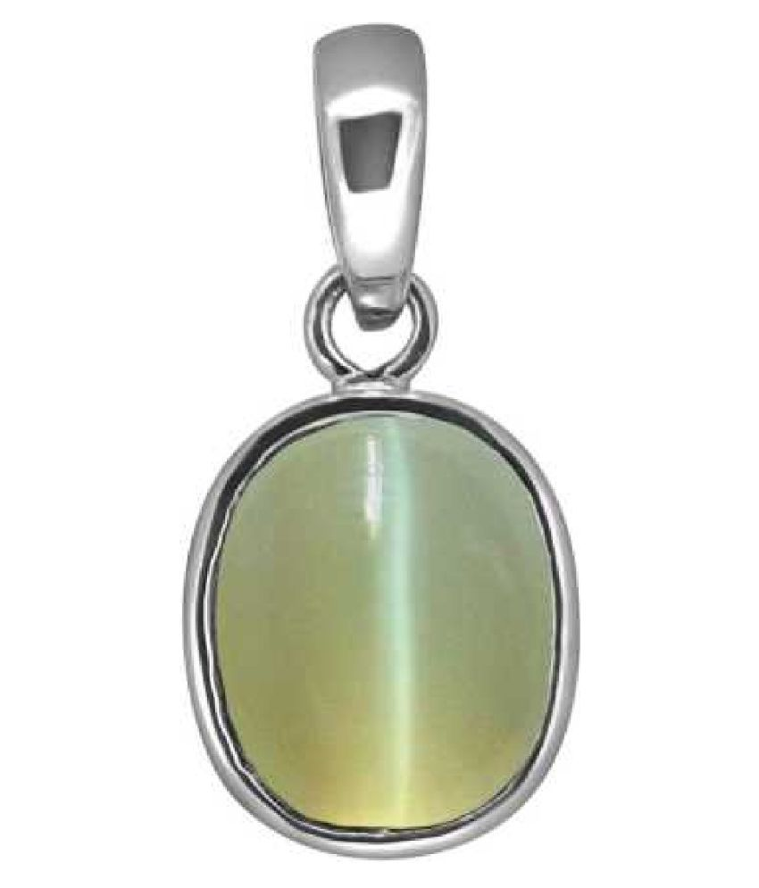 8.5 ratti Cats eye Stone Pendant Natural Cats Eye stone Certified & Astrological purpose for men & women Sterling Silver Cat's Eye Stone Pendant by Kundli Gems