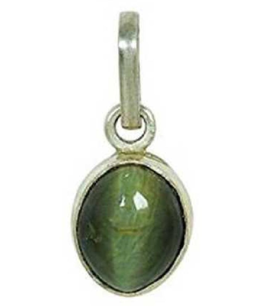 9 ratti Cats eye Stone Pendant Natural Cats Eye stone Certified & Astrological purpose for men & women Silver Cat's Eye Stone Pendant by Kundli Gems