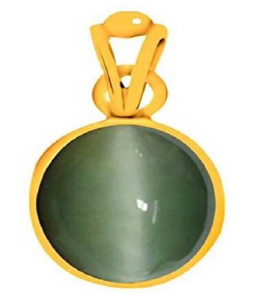 Kundli Gems - Cats eye 9 carat Stone Pendant Natural Cats Eye stone Certified & Astrological purpose for men & women Gold Plated Cat's Eye Stone Pendant