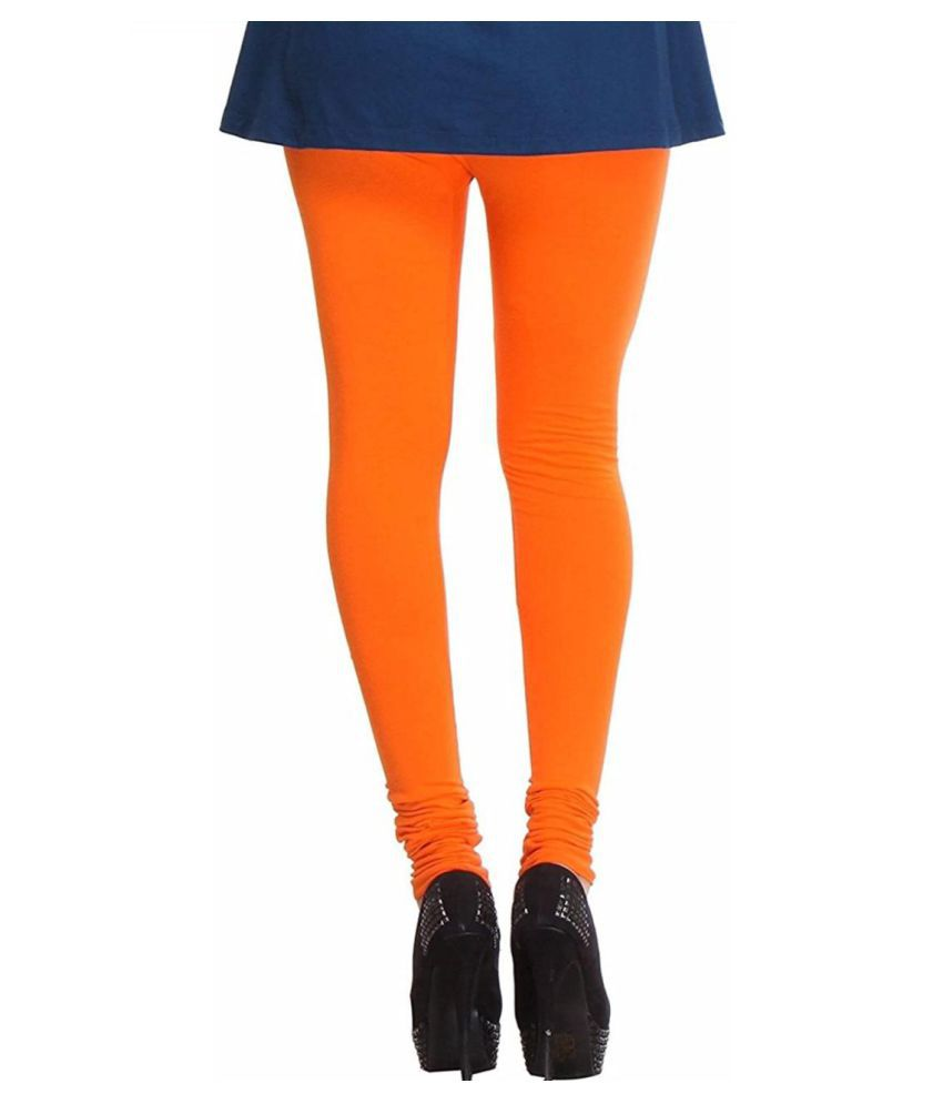 SK Creation Cotton Lycra Jeggings - Orange