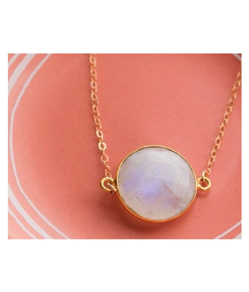 3.25 Ratti MOONSTONE  pure Gold Plated Pendant for Unisex by  Kundli Gems\n
