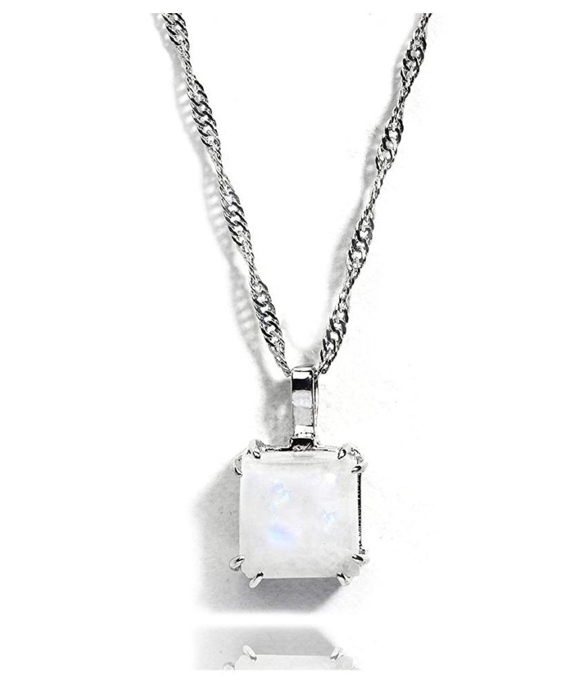 3.5 Ratti MOONSTONE  silver Pendant for Unisex by Kundli Gems\n