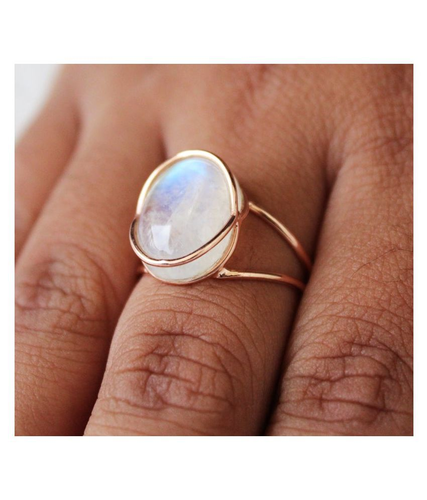 9.5 ratti natural MOONSTONE  Stone pure Gold Plated Ring for unisex by Kundli Gems\n