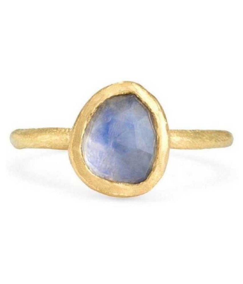 MOONSTONE Natural & Unheated Stone  11.25 Ratti MOONSTONE gold plated Ring by Kundli Gems