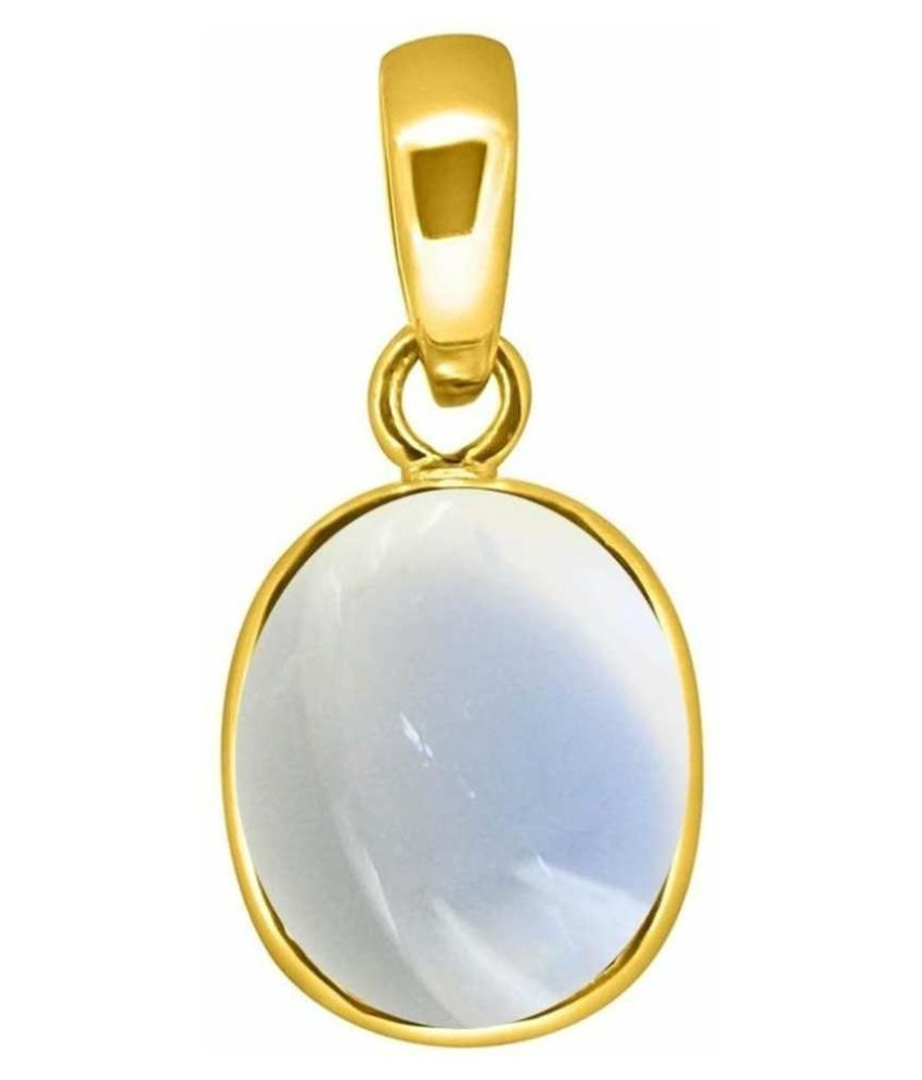Natural & Unheated Stone 2.5 Ratti MOONSTONE Gold Plated Pendant by Kundli Gems