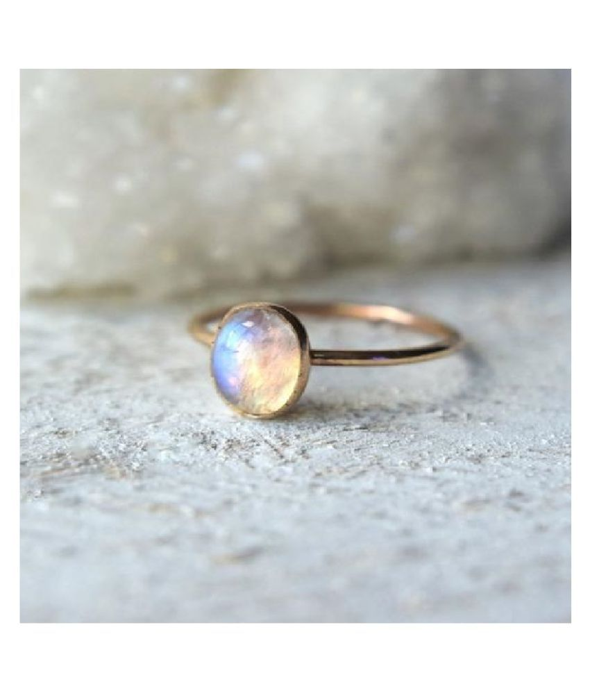 Natural & Unheated Stone MOONSTONE Stone 11.25 Ratti Gold Plated Ring by Kundli Gems