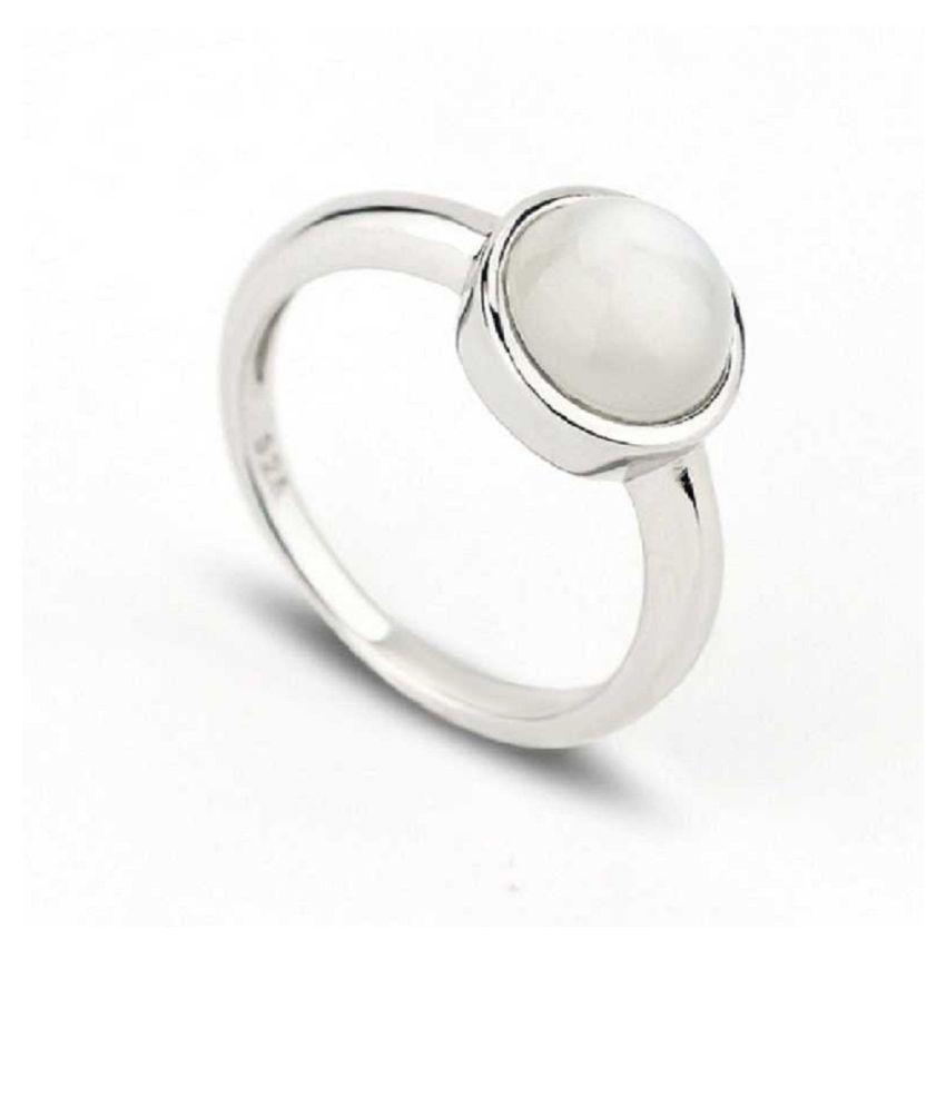 silver MOONSTONE  Ring 11 ratti by Kundli Gems