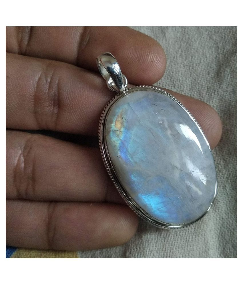 7 ratti stone pure MOONSTONE  silver Pendant for unisex by Kundli Gems\n