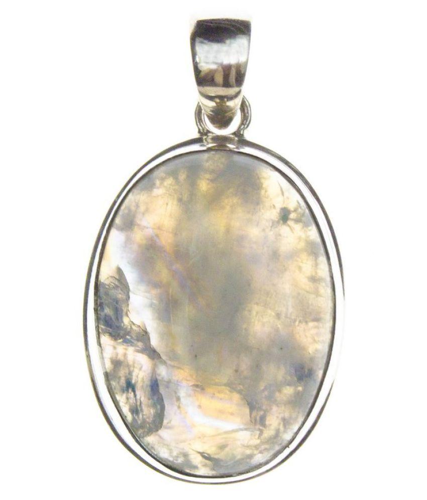 8.25 ratti Stone 100% Natural MOONSTONE  silver Pendant by Kundli Gems\n