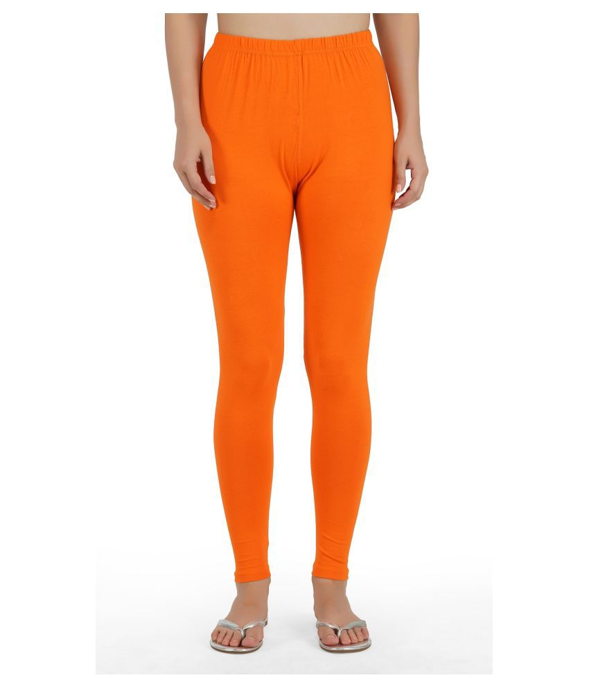 Girly Girls Cotton Jeggings - Orange