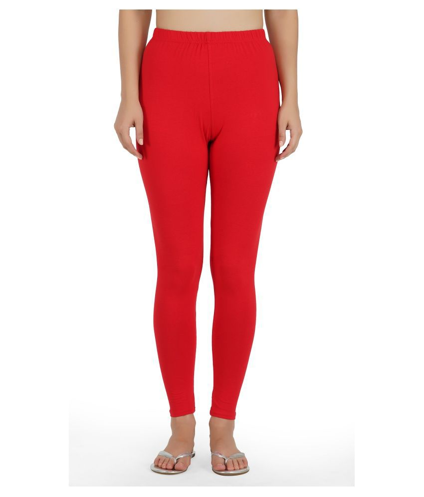 Girly Girls Cotton Jeggings - Red
