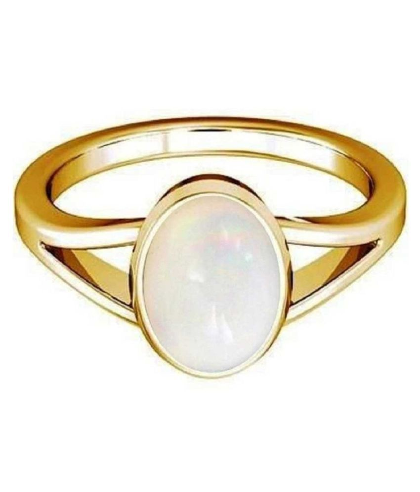2.5 Ratti Lab Certified Stone 100% Original OPAL  Gold Plated Ring for unisex by Kundli Gems\n