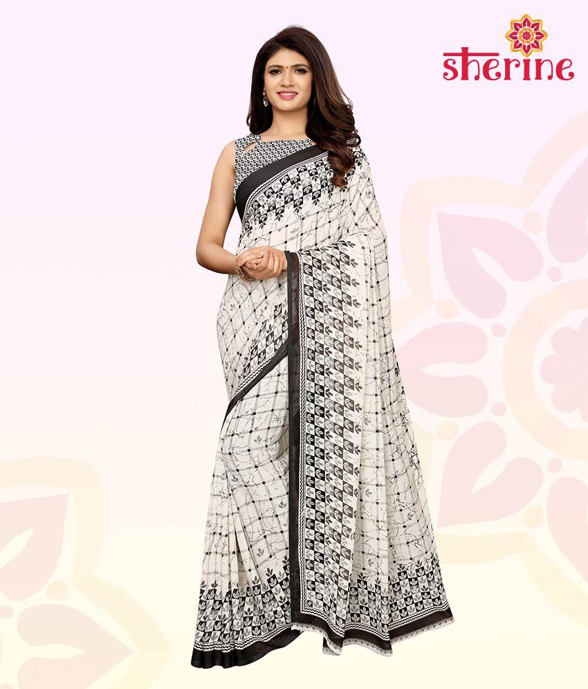 Sherine White Printed Saree with Blouse Piece (Fabric- Poly Georgette)