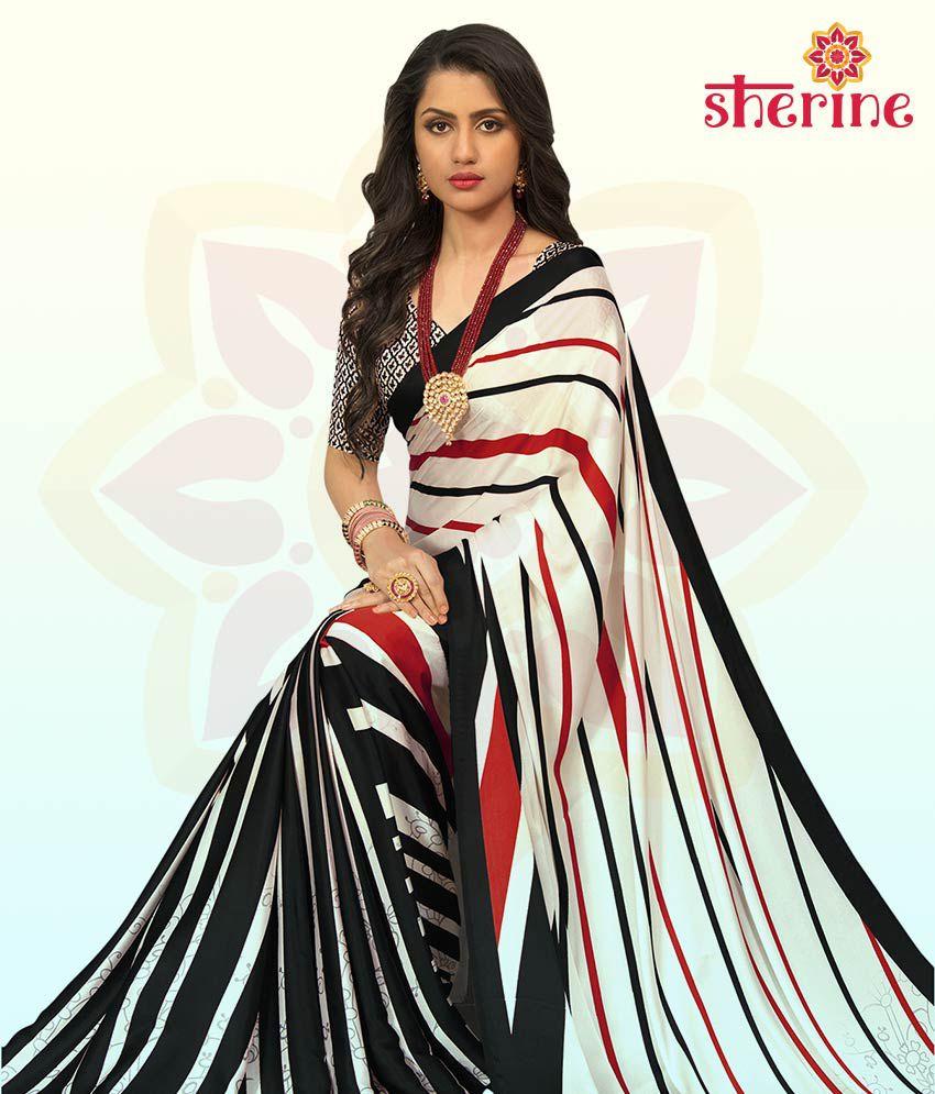 Sherine White Satin Saree with Blouse Piece