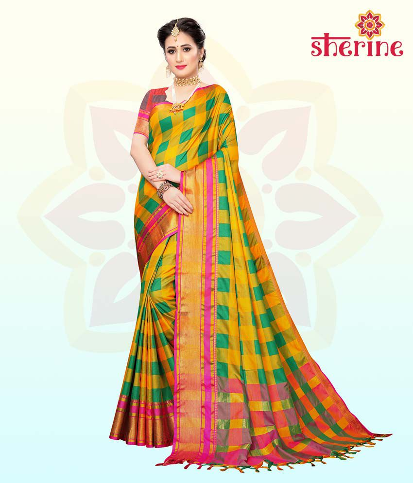 Sherine Yellow Saree with Blouse Piece (Fabric- Poly Cotton)