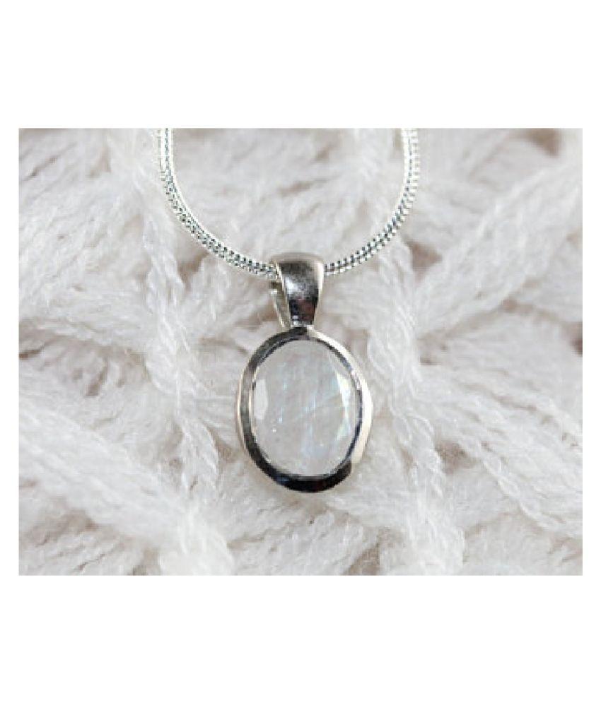 4 Ratti Lab Certified Stone 100% Original MOONSTONE  silver  Pendant for unisex by  Ratan Bazaar\n
