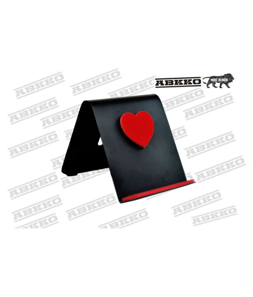 ABKKO Cell Phone Stand Black Red Heart Design Tablet Stand Metal Stand Holder for Mobile and Tablet ( Black )