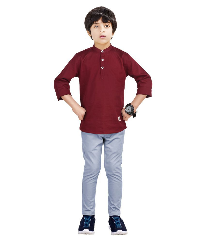 Made In The Shade Boy's Kurta And Cotton Adjustable Trouser