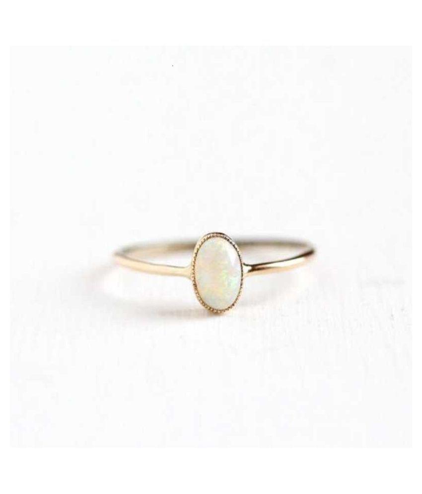 Original OPAL Stone 4.5 Ratti Lab Certified Stone gold plated Ring by Kundli Gems