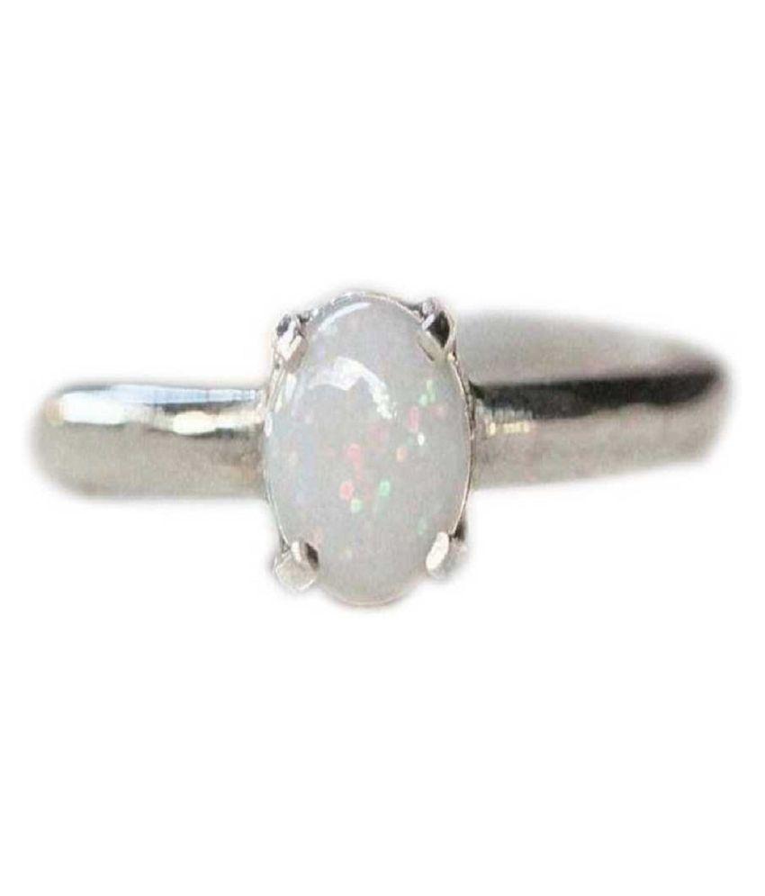12.5 Ratti Lab Certified Stone  Original OPAL  Silver Ring for unisex by Kundli Gems\n