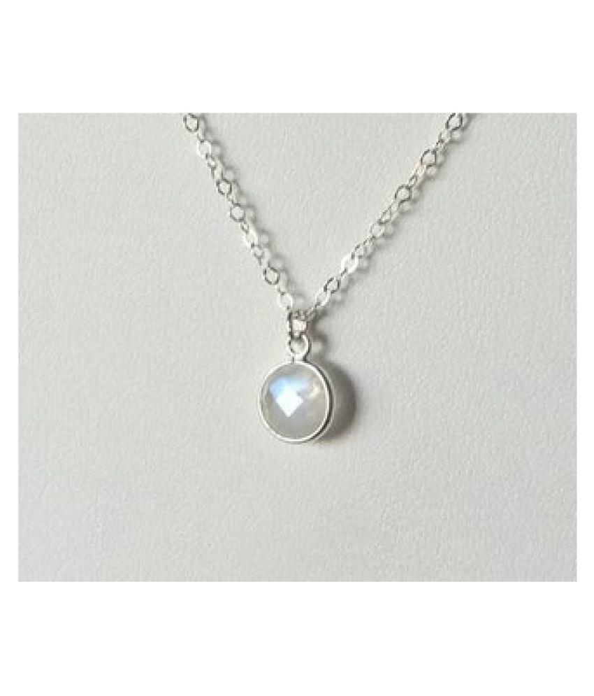 6.5 Carat A+ Quality MOONSTONE Gemstone silver  Pendant by  Ratan Bazaar