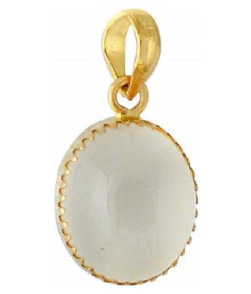 7 Carat 100 Original Certified Stone MOONSTONE Gold Plated Pendant By  Ratan Bazaar