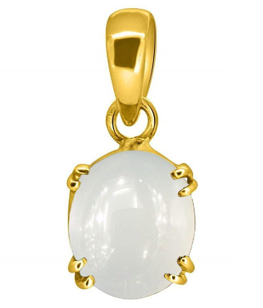 MOONSTONE Pendant Natural Unheated Stone 7.5 Carat gold plated Pendant For Astrological PurposeBy  Ratan Bazaar